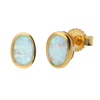 9ct Yellow Gold 6mm Opal Solitaire Oval Shape Stud Earrings