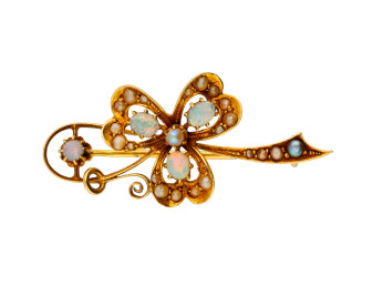 Antique Victorian 18ct Yellow Gold Opal & Split Pearl Brooch