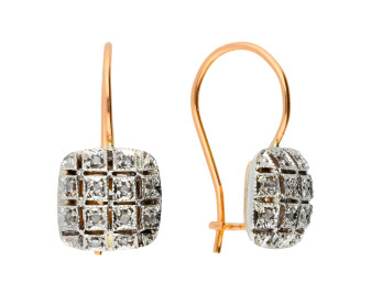 Handcrafted Italian 9ct Rose Gold 0.20ct Diamond Cluster Drop Earrings