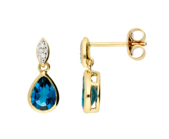 9ct Yellow Gold London Blue Topaz & Diamond Drop Earrings