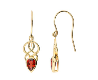 9ct Yellow Gold Garnet Celtic Drop Earrings