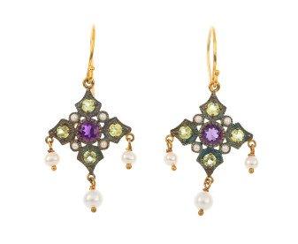 Amethsyt, Peridot & Pearl Drop Earrings