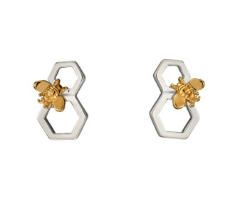 Sterling Silver & Yellow Gold Plated Honeycomb & Bee Stud Earrings