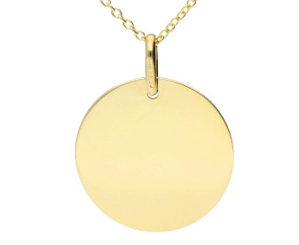 9ct Yellow Gold Round Plaque Necklace