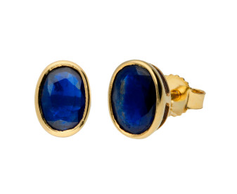 9ct Yellow Gold 1.80ct Oval Sapphire Solitaire Stud Earrings