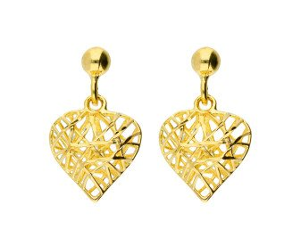 9ct Yellow Gold Caged Heart Drop Earrings