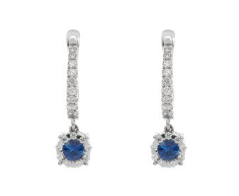 18ct White Gold 0.30ct Ceylon Sapphire & Diamond Creole Drop Earrings