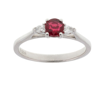 18ct White Gold 0.44ct Ruby & 0.10ct Diamond Trilogy Ring