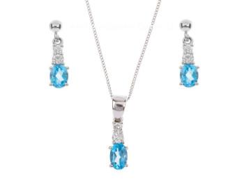 9ct White Gold 1.20ct Swiss Blue Topaz & 0.25ct Diamond Pendant & Earrings Jewellery Set