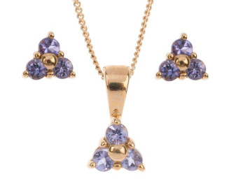 9ct Yellow Gold 0.35ct Tanzanite Trefoil Cluster Earrings & Pendant Jewellery Set