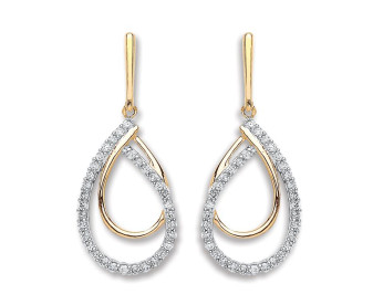 9ct Yellow Gold 0.20ct Diamond Drop Earrings
