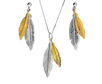 Sterling Silver & Gold Plated Double Feather Pendant & Earrings Jewellery Set