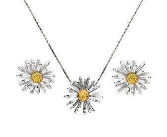 Silver & Yellow Gold Vermeil Michaelmas Daisy Flower Pendant & Earrings Jewellery Set