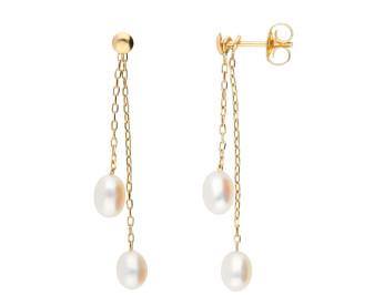 9ct Yellow Gold Freshwater Rice Pearl Drop Earrings