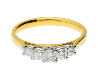 Classic Collection 18ct Gold 0.50ct Five Stone Diamond Ring