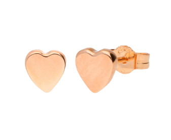 9ct Rose Gold Flat Heart Stud Earrings