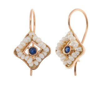 Handcrafted Italian Sapphire & Seed Pearl Drop Earrings