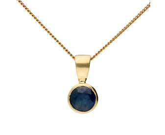 9ct Yellow Gold 5mm Sapphire Solitaire Round Shape Pendant