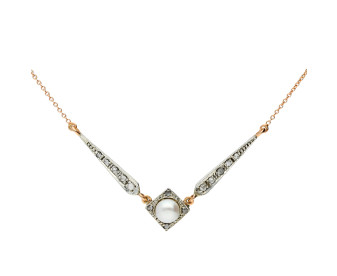 Handcrafted Italian Pearl & 0.20ct Diamond Fancy Necklace