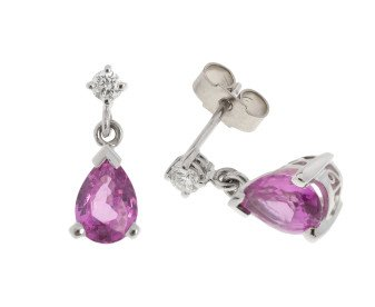 18ct White Gold 1.70ct Pink Sapphire & 0.13ct Diamond Drop Earrings