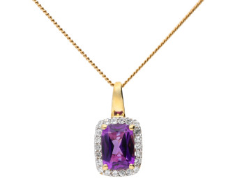 9ct Yellow Gold Diamond And Amethyst Pendant