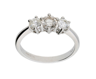 18ct White Gold Certified 0.79ct Diamond Trilogy Ring