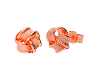 9ct Rose Gold Frosted Ribbon Knot Stud Earrings