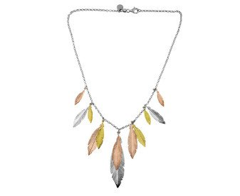 Sterling Silver, Yellow & Rose Gold Plated Feather Necklace