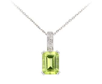 9ct White Gold Peridot & Diamond Pendant