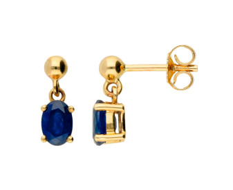 9ct Yellow Gold 6mm Sapphire Oval Drop Earrings