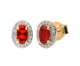 9ct Yellow Gold Garnet & Diamond Cluster Earrings