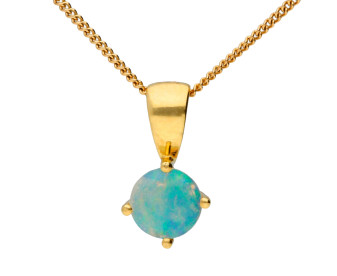 18ct Yellow Gold 0.30ct Round Opal Solitaire Pendant