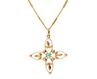 Antique 9ct Yellow Gold Opal Flower Pendant