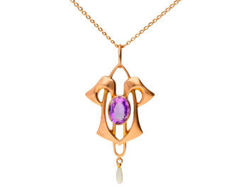 Antique Art Nouveau 9ct Rose Gold Amethyst & Seed Pearl Pendant