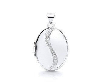 9ct White Gold Diamond Oval Locket