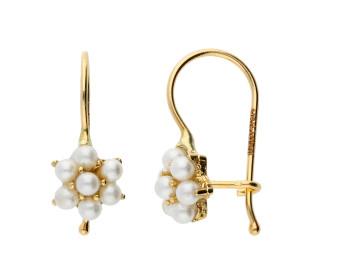 9ct Yellow Gold Freshwater Seed Pearl Flower Drop Earrings
