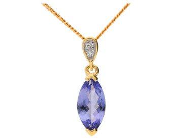 9ct Yellow Gold Tanzanite & Diamond Pendant