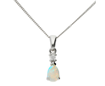 9ct White Gold 0.25ct Opal & Diamond Pendant