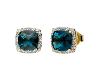 9ct Yellow Gold London Blue Topaz & Diamond Cluster Earrings