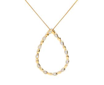 9ct Gold & Diamond Tear Drop Pendant
