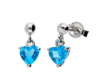 9ct White Gold Heart Topaz Solitaire Drop Earrings
