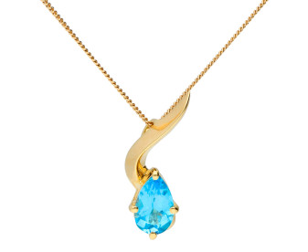 9ct Yellow Gold Topaz Wave Pendant