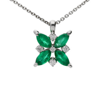 18ct White Gold Emerald & Diamond Flower Pendant