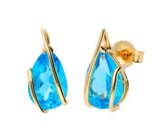 9ct Yellow Gold 9mm Swiss Blue Topaz Fancy Solitaire Pear Shape Stud Earrings