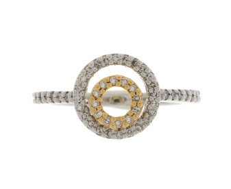 Pre-Owned 18ct White & Yellow Gold 0.17ct Diamond Dress Ring