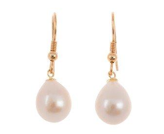 9ct Rose Gold Freshwater Pink Pearl Drop Earrings
