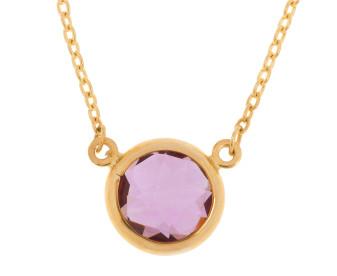 9ct Gold Amethyst Collet Set Necklace