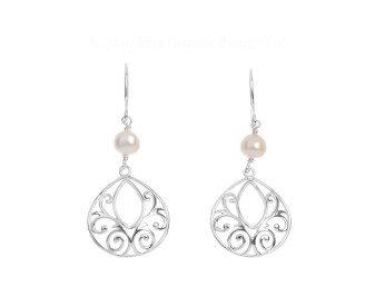 Silver Cultured Pearl Fancy Drop Earrings
