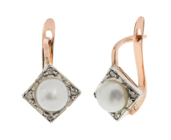 Handcrafted Italian Cultured Pearl & Diamond Cluster Earrings