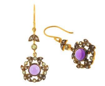 Amethyst, Peridot & Diamond Drop Earrings